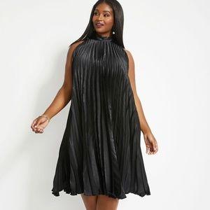 Ashley Stewart GOLD Satin Pleated TieNeck Dress 14